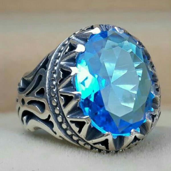 انگشتر مردانه طرح توپاز آبی