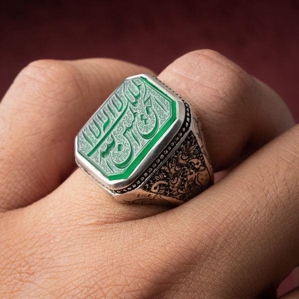انگشتر مردانه عقیق سبز خطی دستساز
