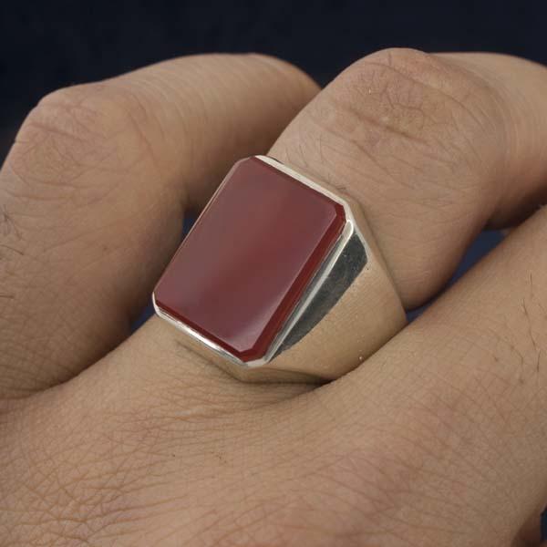 انگشتر مردانه عقیق سرخ دست ساز