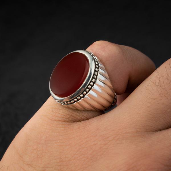 انگشتر مردانه عقیق سرخ یمنی دستساز