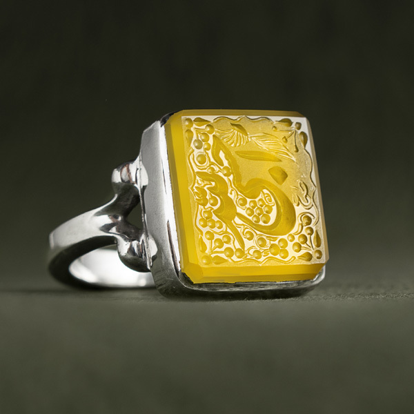 انگشتر نقره مردانه عقیق زرد خطی دست ساز