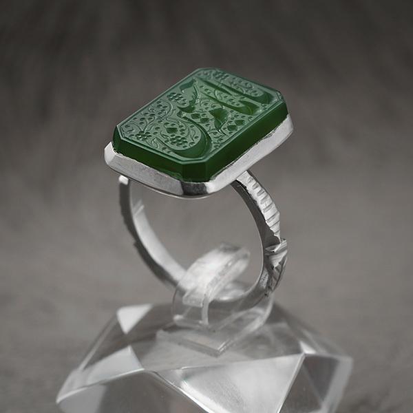 انگشتر نقره مردانه عقیق سبزخطی دست ساز
