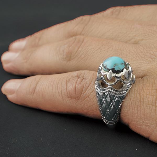 انگشتر مردانه فیروزه نیشابور دست ساز