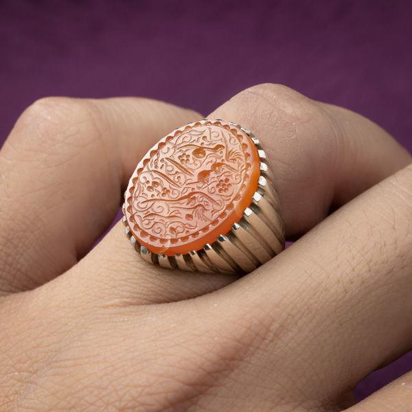 انگشتر نقره مردانه عقیق پرتقالی خطی دستساز