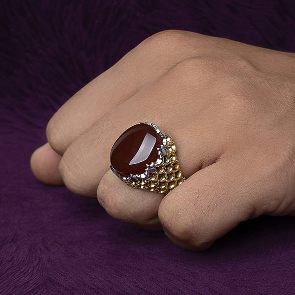 انگشتر مردانه عقیق قرمز یمنی دست ساز طرح ضریح