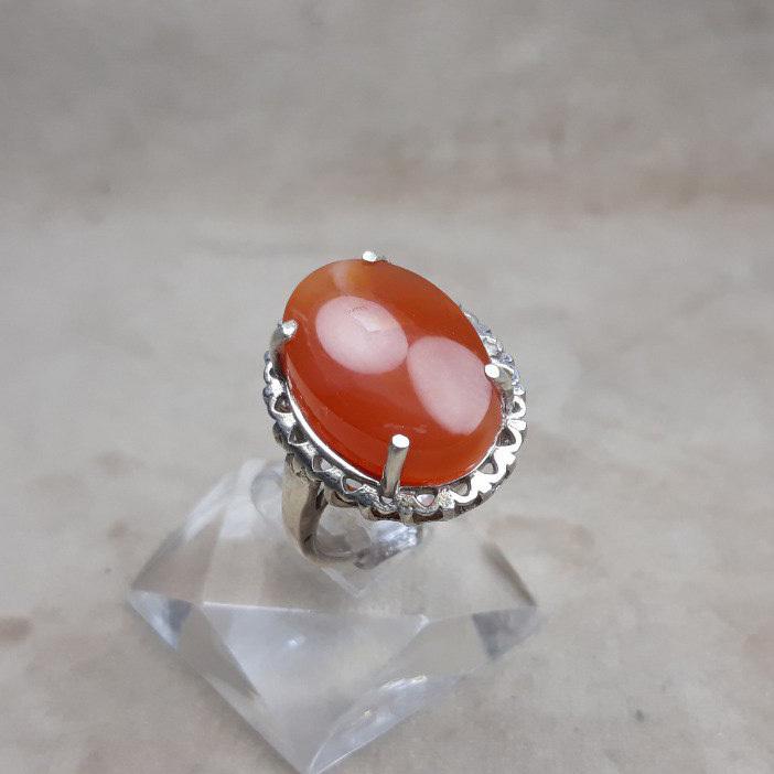 انگشتر زنانه عقیق پرتقالی یمانی معدنی