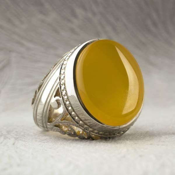 انگشتر مردانه عقیق زرد شرف الشمس دست ساز