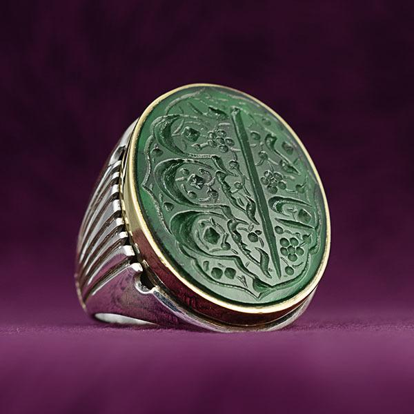 انگشتر مردانه عقیق سبز معدنی خطی دست ساز