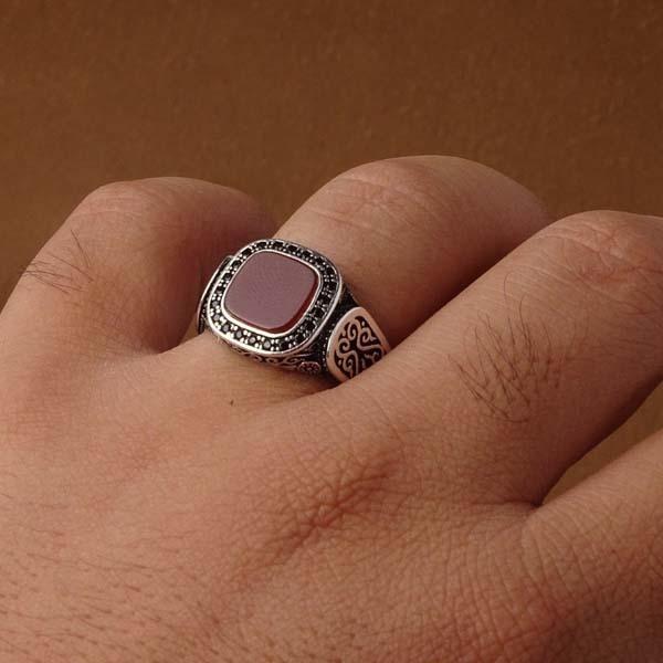 انگشتر نقره اسپرت سرخ