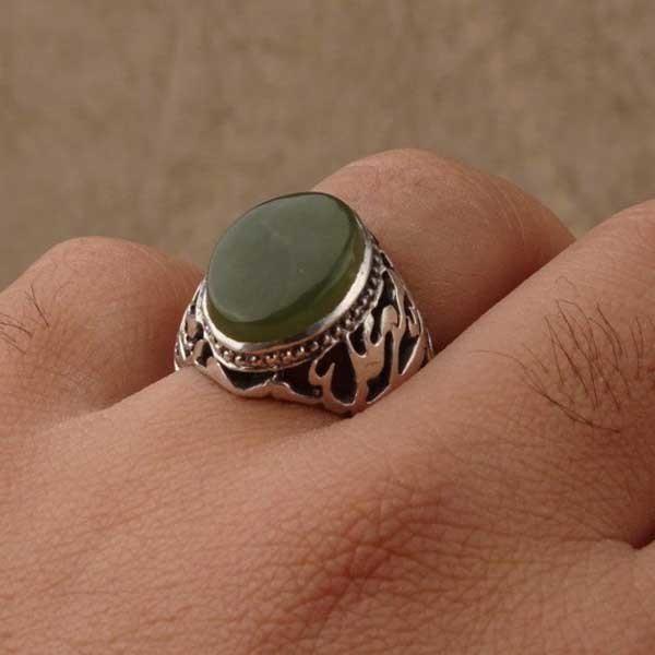 انگشتر نقره مردانه یشم طبیعی و معدنی