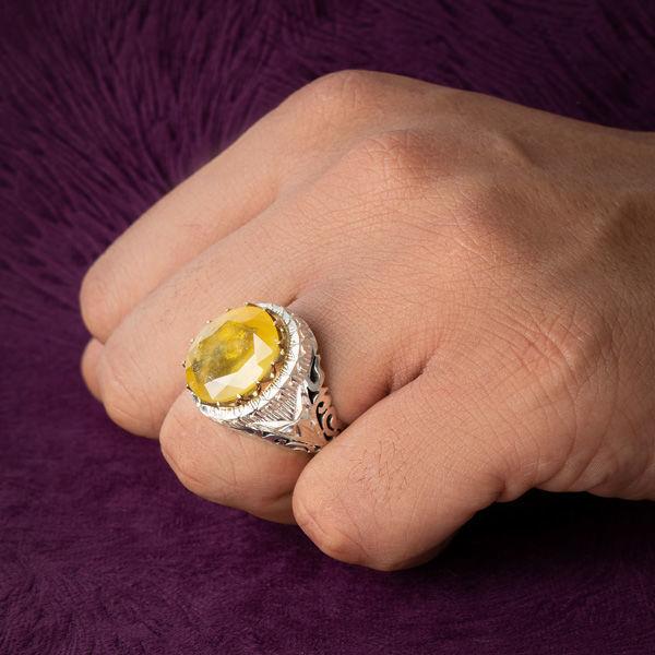 انگشتر مردانه یاقوت زرد دست ساز