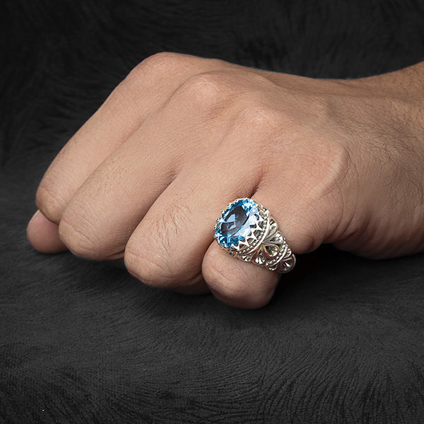 انگشتر مردانه توپاز سوییسی دستساز