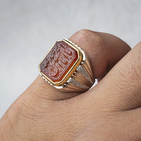 انگشتر مردانه عقیق یمانی خطی دستساز