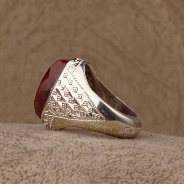انگشتر نقره مردانه عقیق سرخ یمانی دستساز