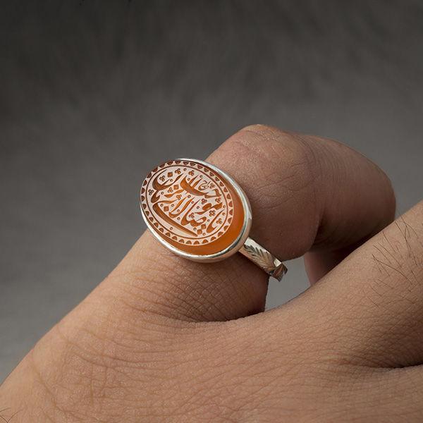 انگشتر مردانه عقیق یمانی خطی دست ساز