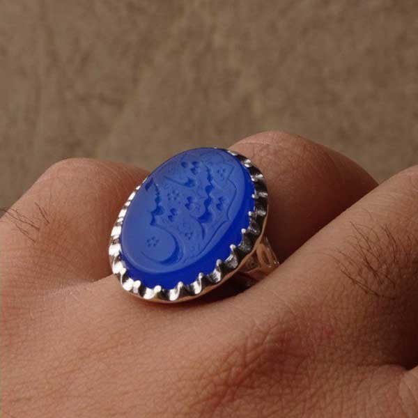 انگشتر مردانه عقیق آبی پررنگ خطی