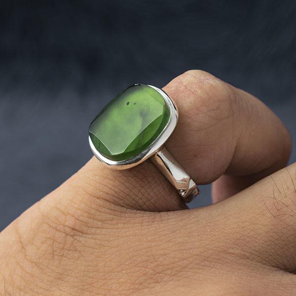 انگشتر مردانه یشم هندی دست ساز