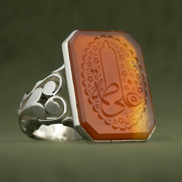 انگشتر مردانه عقیق پرتقالی یمنی خطی دست ساز