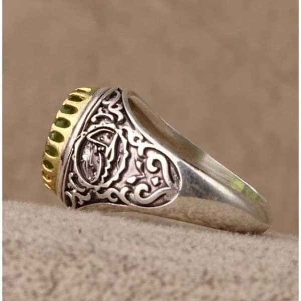 انگشتر نقره مردانه زبرجد معدنی