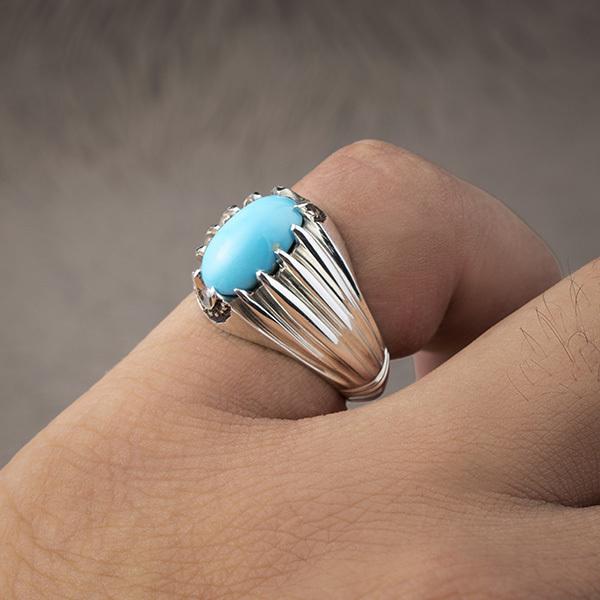 انگشتر مردانه فیروزه عجمی نیشابور دست ساز