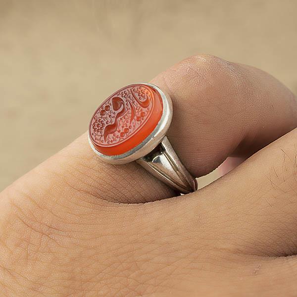 انگشتر مردانه عقیق پرتقالی یمنی دست ساز