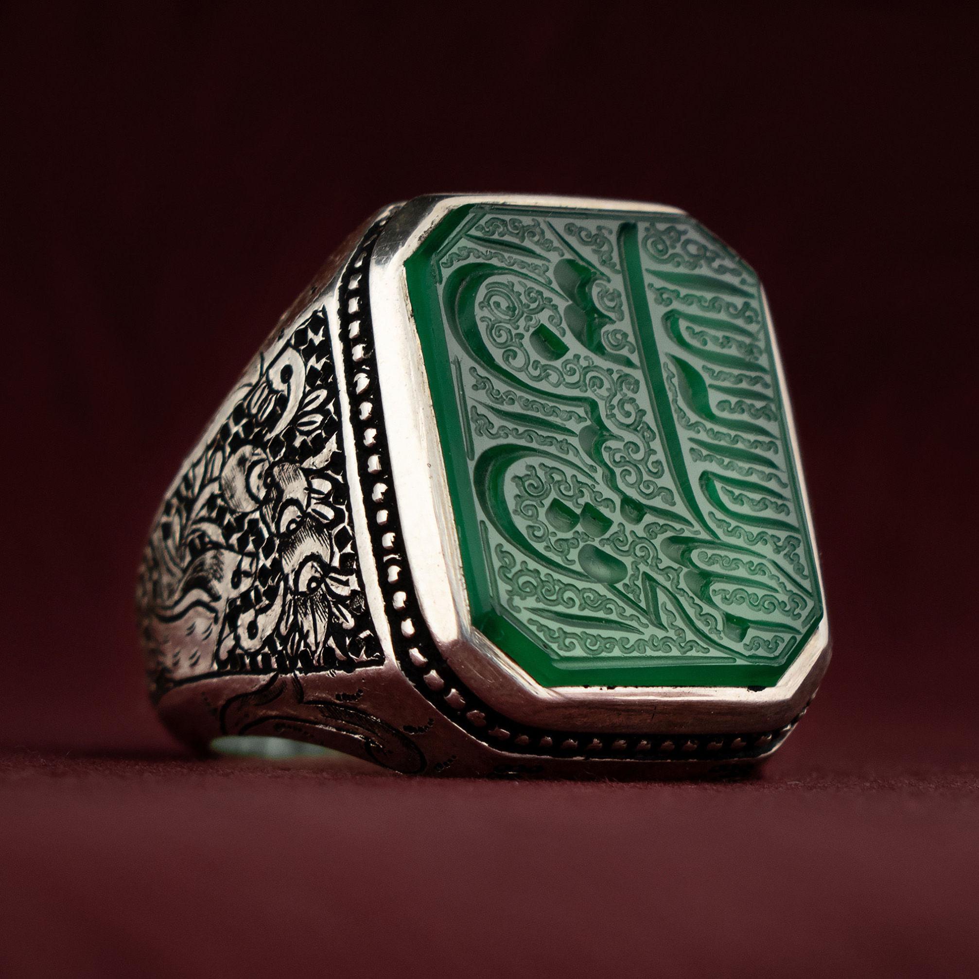 انگشتر نقره مردانه عقیق سبز خطی دست ساز