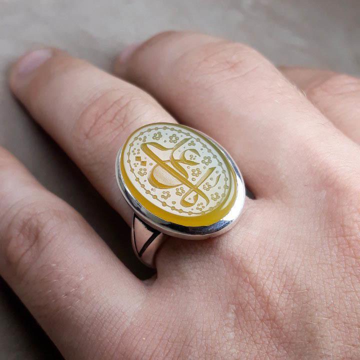 انگشتر مردانه عقیق زرد معدنی خطی