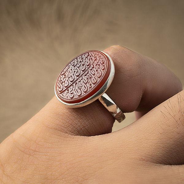 انگشتر مردانه عقیق قرمز خطی دستساز