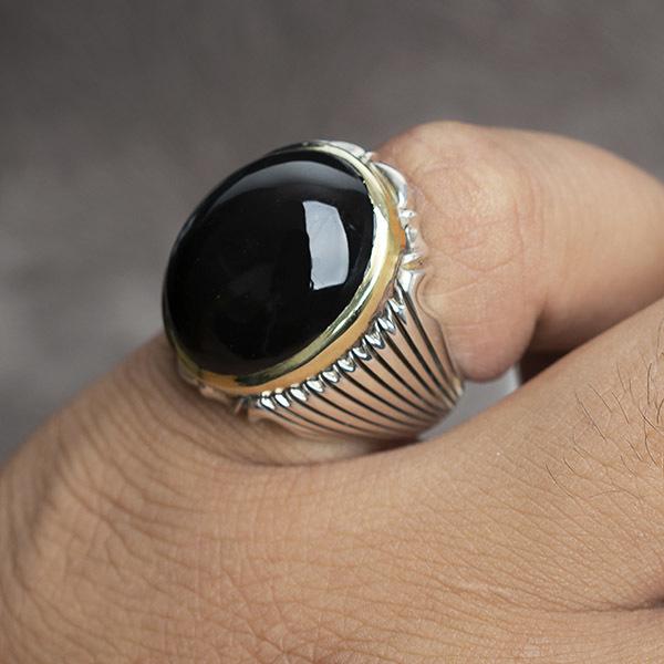 انگشتر مردانه عقیق جزع یمانی دست ساز