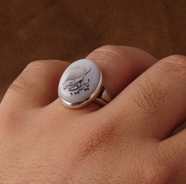 انگشتر مردانه عقیق شجر خطی