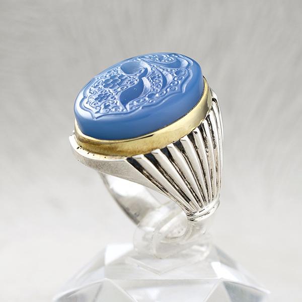 انگشتر مردانه عقیق آبی خطی دستساز