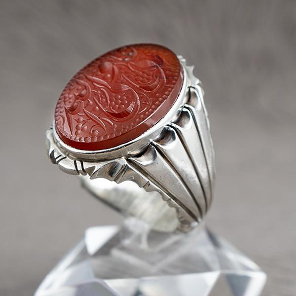 انگشتر مردانه عقیق سرخ یمانی دست ساز