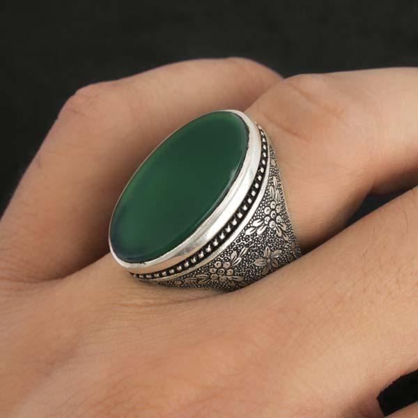 انگشتر مردانه عقیق سبز دست ساز