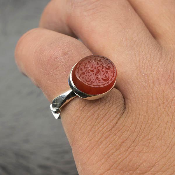 انگشتر مردانه عقیق قرمز یمن خطی دست ساز