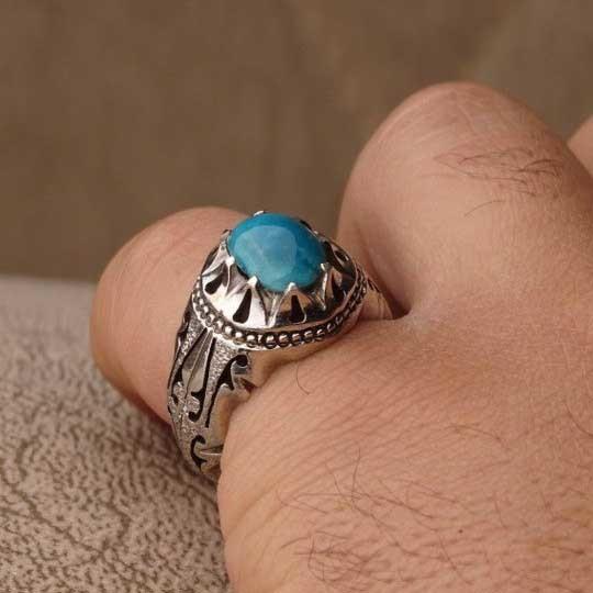 انگشتر نقره مردانه فیروزه نیشابوری اصل دست ساز