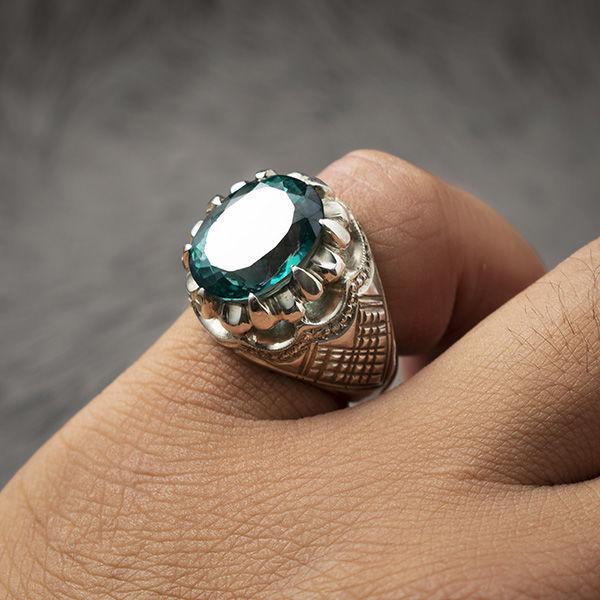 انگشتر مردانه توپاز سبز دستساز