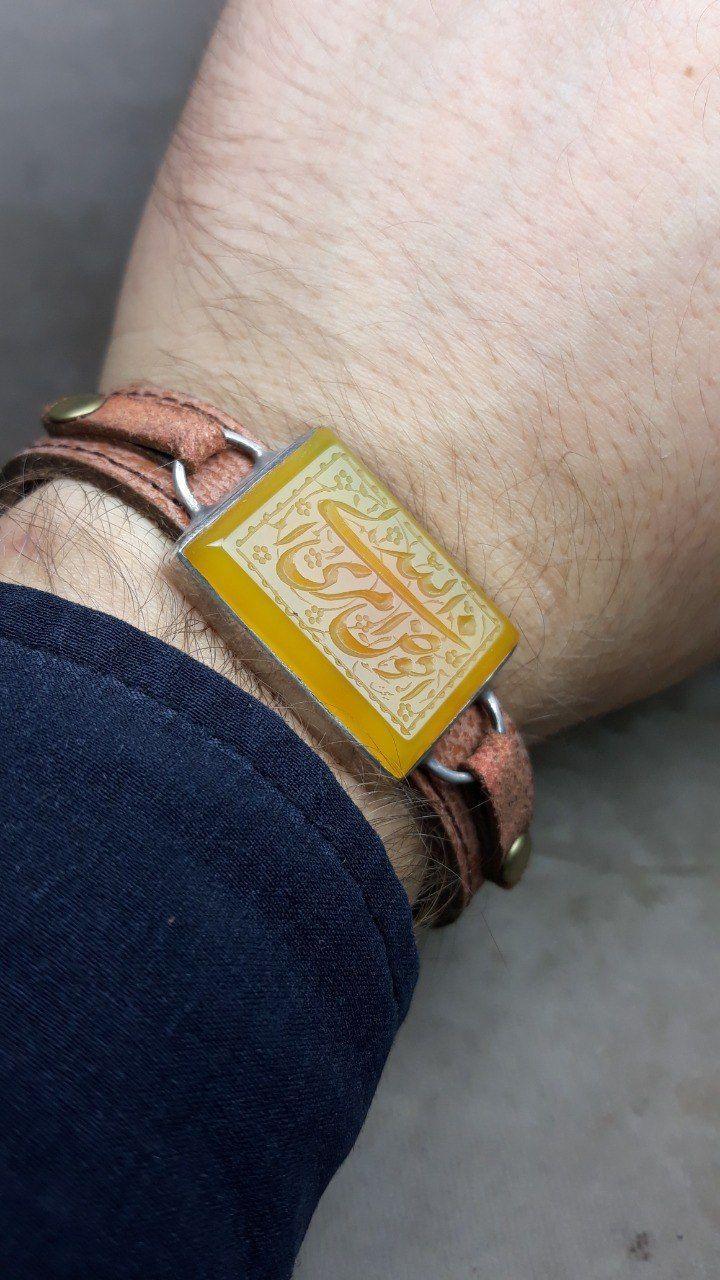دستبند چرم عقیق زرد خطی