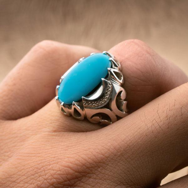 انگشتر مردانه فیروزه مصری دست ساز