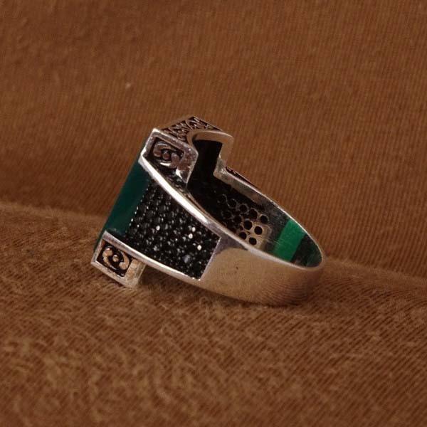 انگشتر نقره اسپرت سبز
