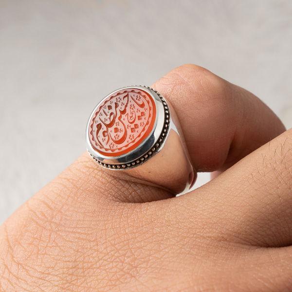 انگشتر مردانه عقیق پرتقالی یمنی خطی دستساز