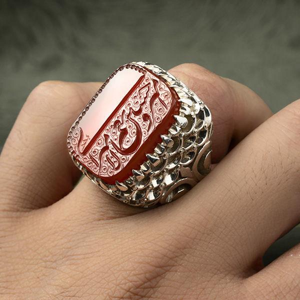 انگشتر مردانه عقیق قرمز خطی دست ساز
