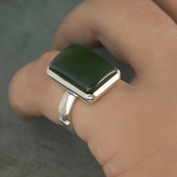 انگشتر مردانه یشم طبیعی دست ساز