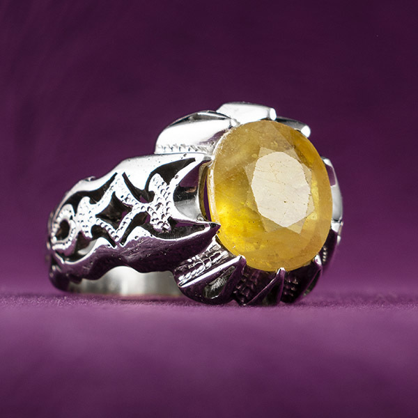 انگشتر مردانه یاقوت زرد آفریقا دست ساز