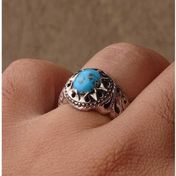 انگشتر نقره مردانه فیروزه نیشابوری دست ساز