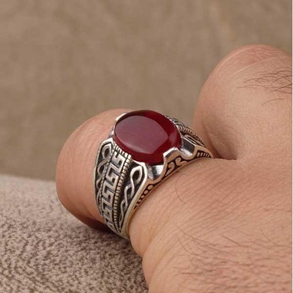 انگشتر نقره مردانه عقیق سرخ یمن