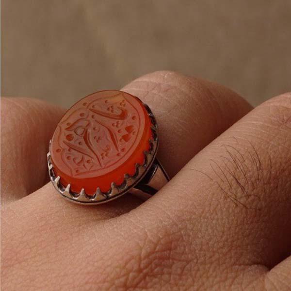 انگشتر مردانه عقیق پرتقالی یمانی خطی
