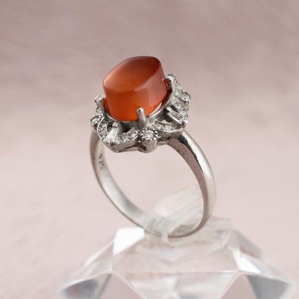 انگشتر زنانه عقیق پرتقالی یمانی