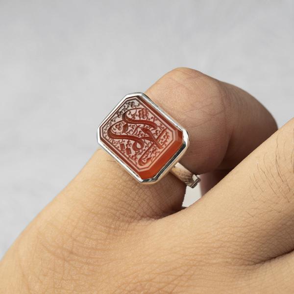 انگشتر مردانه عقیق پرتقالی یمانی خطی دست ساز