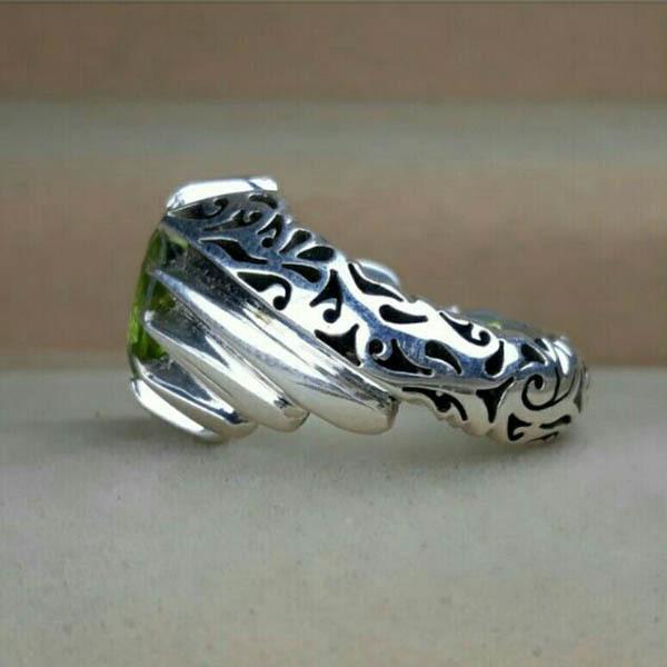 انگشتر مردانه زبرجد معدنی دستساز