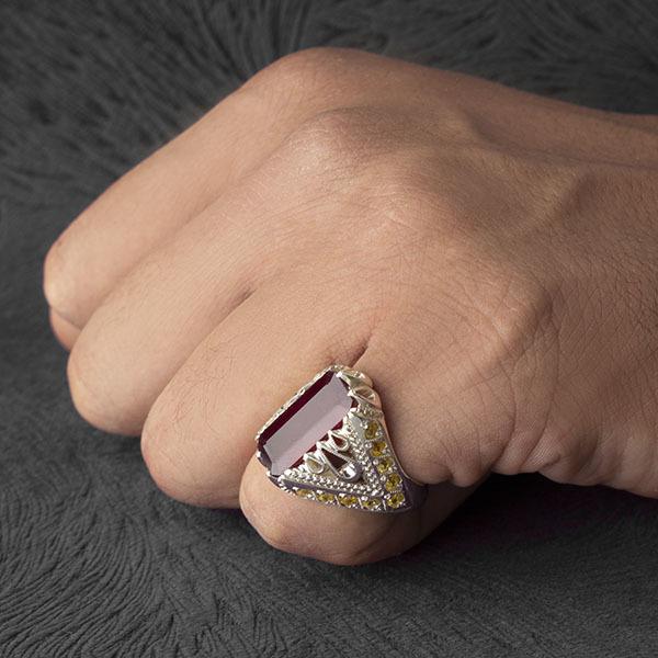 انگشتر مردانه یاقوت قرمز دستساز
